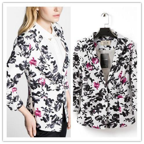 neue mode 2015 marke damen blaser single button floral blazer frauen blazer und jacken blazer feminino anzugjacke FG1510