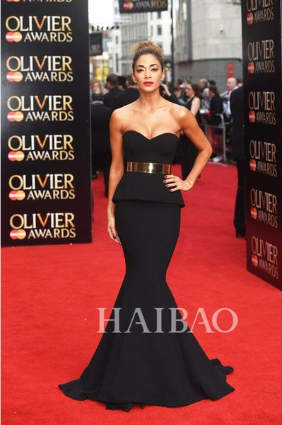 Best Selling Back Mermaid Long Red Carpet Celebrity Dresses With Gold Sash Sexy Evening Prom Dress Gowns Pageant Dress Exquisite Cheap