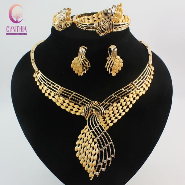 Fashion African Modeschmuck Sets 18K Gold Plated Strass Hochzeit Frauen Bridal Zubehör nigerianischen Halskette Ohrringe Armband Ring Pa