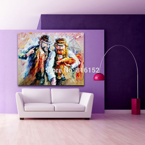 Palette Knife Oil Painting Figure Picture Scene of Life Photo Printed on Canvas Mural Art for Bedroom Living Room Home Wall Decor