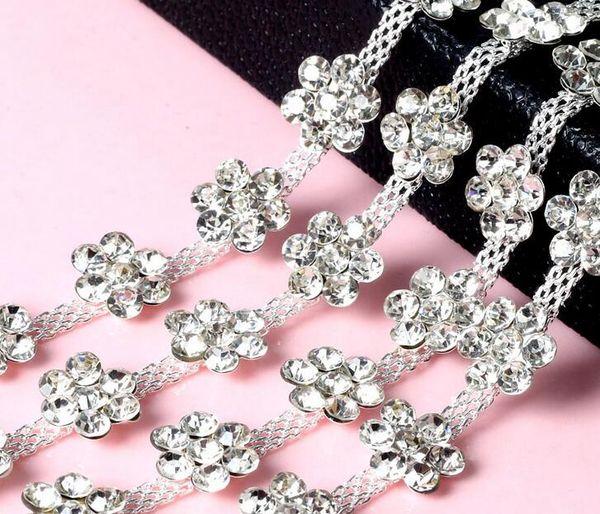 1 Yard Sparkle Rhinestones Crystals Plum blossoms Silver Plated Ribbon Chain Trim Fow Sewing Wedding Dress Diy Craft