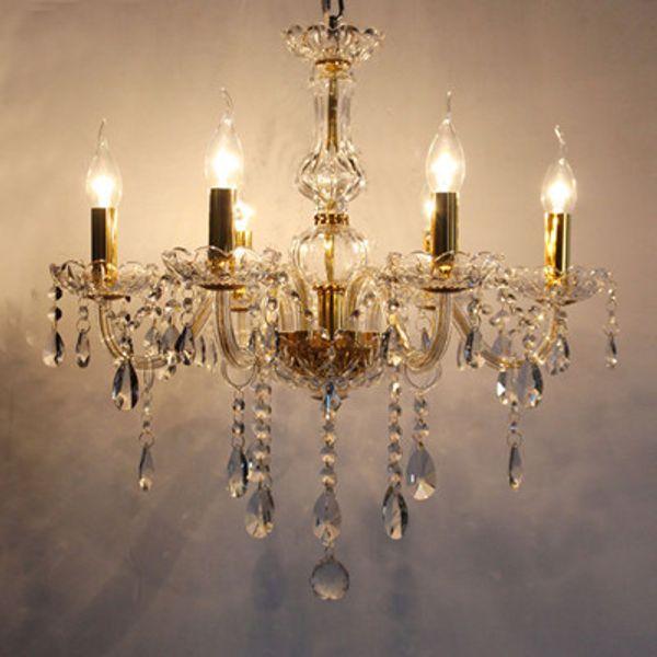 Yatak odası 6 kollar Mini led mum avize ışığı Modern kristal aydınlatma çocuk odası çocuk odası kolye kristal avizeler kapalı aydınlatma