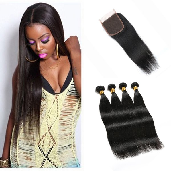 "3 Bundles Straight Peruvian Brazilian Virgin Hair Extensions With Free Middle 3 Part Top 4x4 Lace Closure 8""-28"" Inches Factory Price"