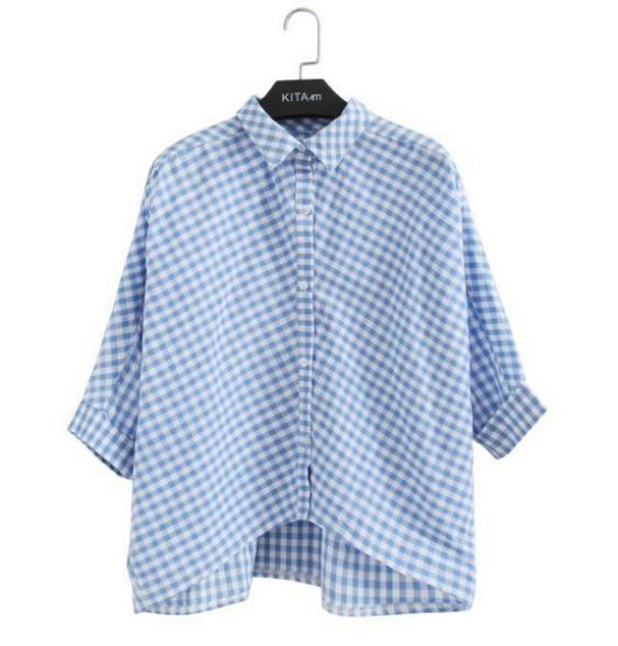 Spring Summer Breif Blue and White Plaid Shirt Women Girls Batwing Loose Half Sleeve Collar Blouse Casual Cotton Tops
