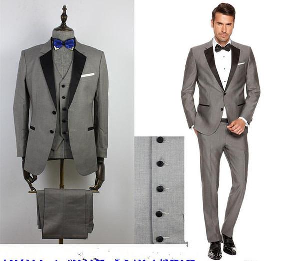 Custom Grey Mens Ternos Lapela Preta Slim Fit Ternos De Casamento para Noivo / Groomsmen Prom Ternos Casuais (Jaqueta + Calça + colete + Gravata borboleta)