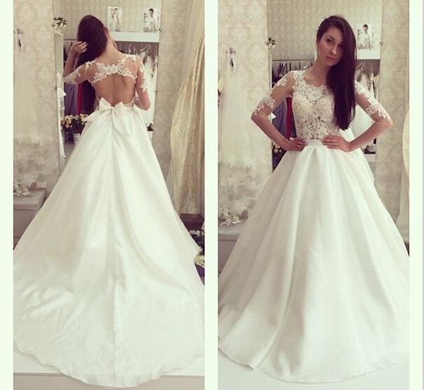 Manches longues robes de mariée en dentelle pure taffetas Backless robes de mariée robes de Novia élégant une ligne robes de mariée 2016 avec Bow