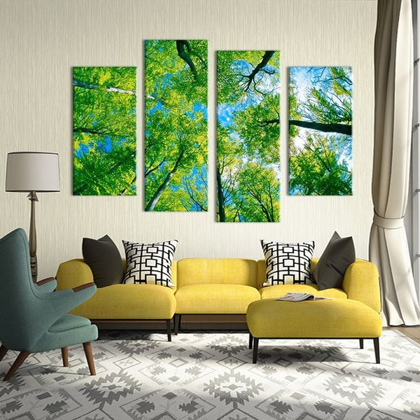 4 Panel paints green tree on the sky views modern art Wall painting print on canvas for home decor ideas paints pictures Unframe