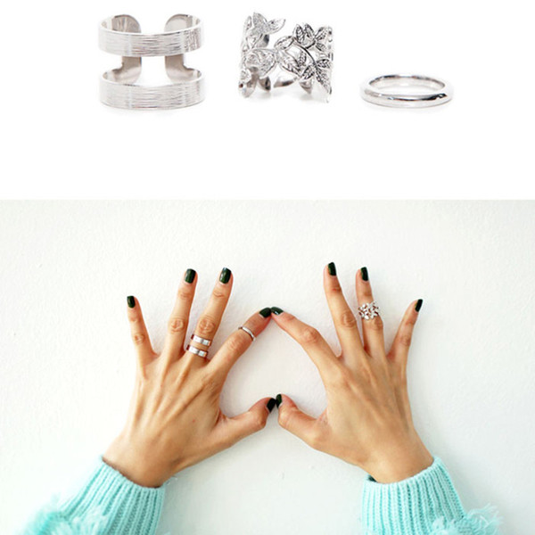 Wholesale- 2017 Hot 3pcs/lot Shiny Punk Style Silver Stacking Above Knuckle Rings Band Midi Finger Charm Leaf Ring Set for Womens Jewelry