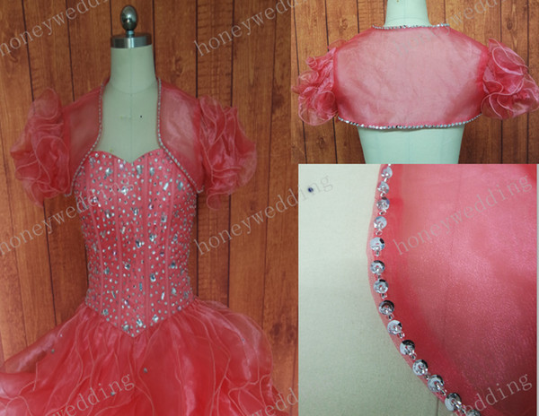 Custom Made Colour/Size ruffled Short sleeve Organza Shawl Wedding dress Seersucker Shrug Bolero Coat Wrap Jacket quinceanera Gown Jacket