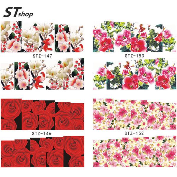 Al por mayor-1 Hoja Nueva Marca de agua Flor Hojas Diseño de manicura Herramientas de decoración Nail Art Tips Nail Sticker Calcomanías STZ145-157