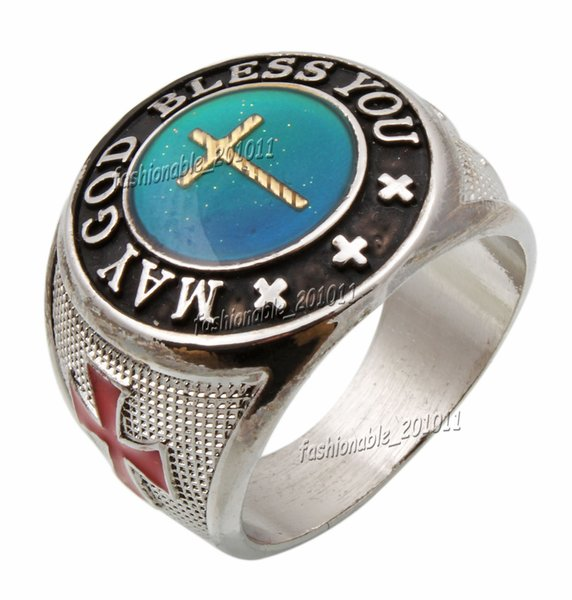 """Oversize Cross Color Finger Changing Silver Plated MAN Mood """" MAY GOD BLESS YOU """" MANS Rings FREE"""