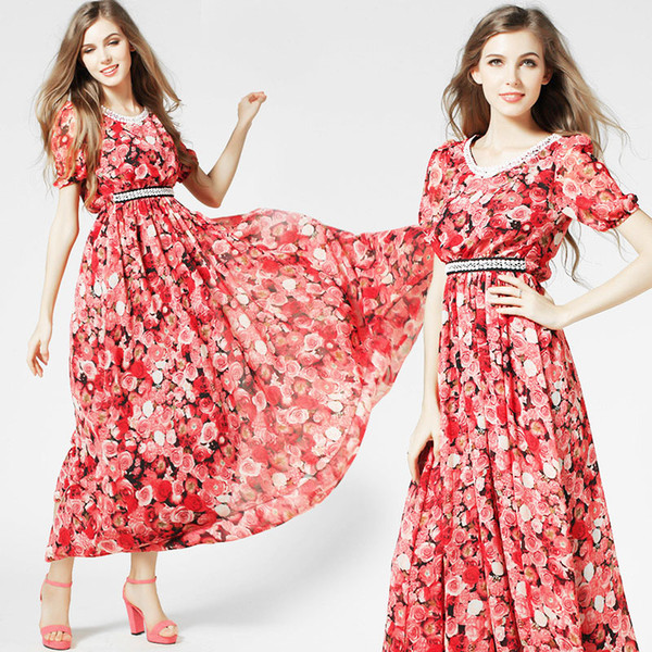 f89f993c90 Fashion Women Girls Casual Long Dress Chiffon Red Floral Flower Print Flared  Circle Short Sleeve Summer