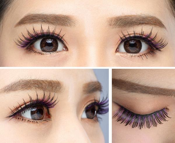 Taiwan pure manual false eyelash 024 Purple & black Eye end extended style False eyelash Black cotton stalk eyelashes 10box/100pairs/lot