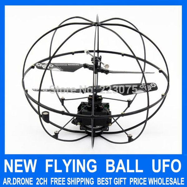 Wholesale-RC Flying Ball Mini 2ch Remote Radio Control UFO FLy Ball Helicopter Ar Drone quad copter quadcopter toys for baby gift