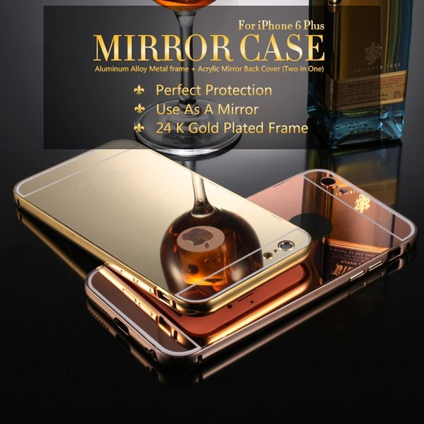 Luxury Aluminum Ultra-thin Mirror Case Metal Bumper frame PC Cover for iPhone 7 SE 6 6S Plus 5S Samsung Galaxy S7 S6 edge note 5 7