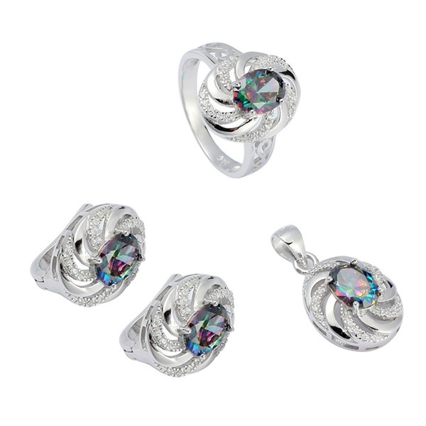 925 sterling silver Promotion heart set (ring/earring/pendant) Noble Generous S-3731set ssz#6 7 8 9 Rainbow Fire Mystic Cubic Zirconia Punk