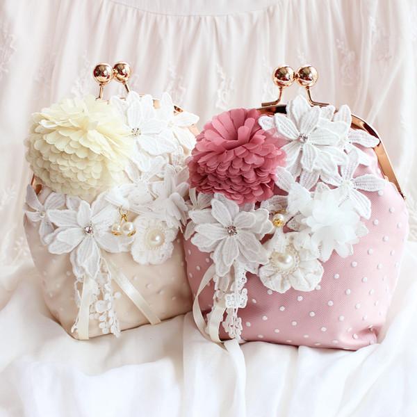 Exclusive Original Elegant Princess Soft Lace Flowers Crystal Wedding Handbags For Brides Handmade Fabric Party Hand Bags 2016