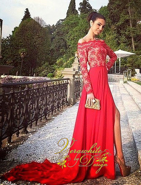 Sexy A-Line Evening Dresses 2016 Off-Shoulder Neck Long Sleeves Red Chiffon with Appliques Zipper Back Court Train Custom 2016 Party Gowns