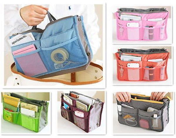 Atacado-Lady Dual Bag no saco Inserir Bolsa bolsa tidy forro tote interior Travel Organizer