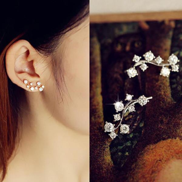 tree leaf AAA+ CZ Diamond Ear Cuff Earrings For Women/Girls 18K Champagne Gold Plated Ear Hook Party Stud Earrings Jewelry