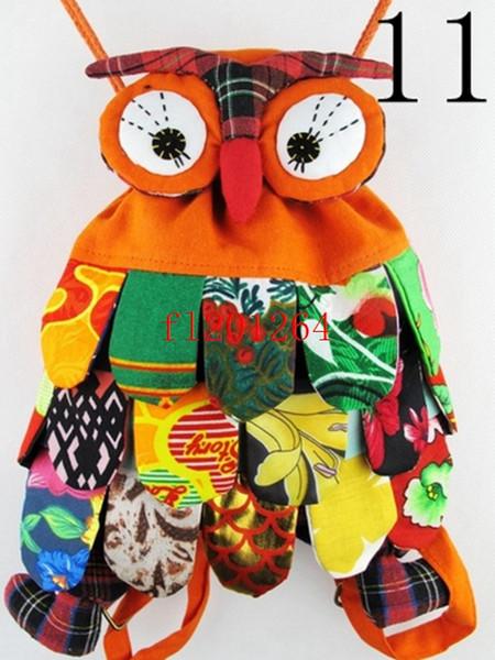top popular 15pcs lot Fedex DHL Ems Free Shipping New fashion Handmade OWL Bag Handmade craft owl bag kids backpack satchel 2020