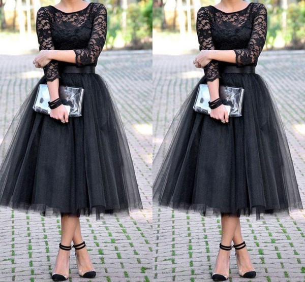 evening dresses bridesmaid dresses 3/4 Long Sleeves Tulle Skirt Bridal Shower Tea Length cheap free shipping Party Prom Gown