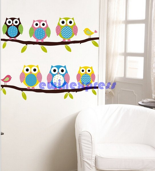 New Good Quality Freeship Colourful Owl Bird Tree Branch Wall Decals Removable Stickers decor kids nursery