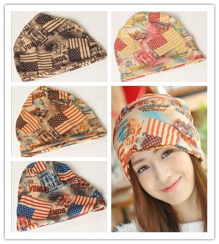 High Quality Cotton Beanies Winter Warm Hats For Women New Korean Casual letter BCY American flag two uses caps