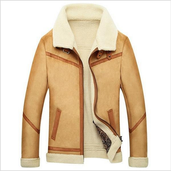 Fall-2016 New Men Suede Leather Jackets Winter Fur Coats Size M-4XL Vintage Camel / Coffee Man Wool Outerwear Warm Fleece Lining