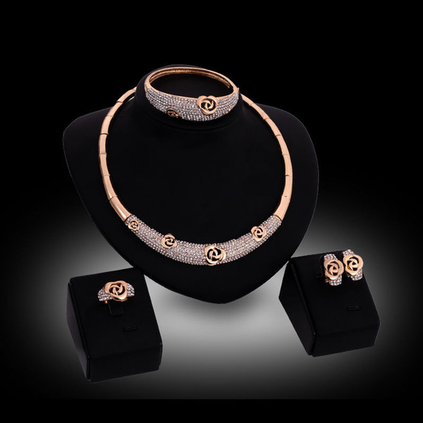 Fashion Classic Design Wedding 18K Gold Plated Rose Shape Crystal Necklace Bangle Earring Ring Jewelry Set
