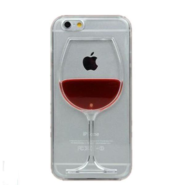 2016 Vin Rouge Tasse Liquide Transparent Couverture de Cas Pour Apple iPhone 6 6s 6 Plus Téléphone Cas Retour Couvre