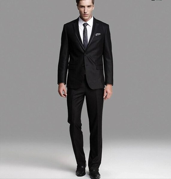 The latest high quality black gun collar two buttons/groom suit dress/best man suit/PROM dress