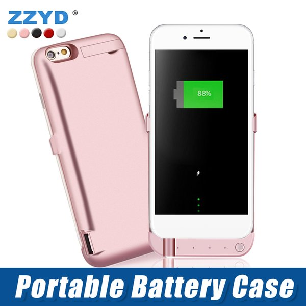 best selling ZZYD 6000 mAh External Power Bank Charger Case Mobile Phone Backup Battery Case For iP 6 7 8 plus Cell Phone