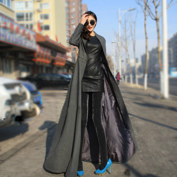 1bd71db4f 2019 Wholesale European America Style Fashion Trench Overcoat 2015 Newest  Design Woolen X Long Floor Length Trench Coats Plus Size XXXL S2702 From ...