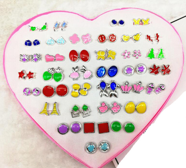 2018 new fashion box packed girl Madam mix 36 style 36Pairs Anti allergy Plastic Auricular needling Earring Children cartoon Earrings