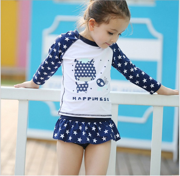 top popular 2018 Baby Girls Summer Swimwear Kids Stars Printed Cartoon Swimsuit Baby Long Sleeve T-shirt Tops+Tutu Skirt +Hat 3pcs set Girl Swim Clothes 2021