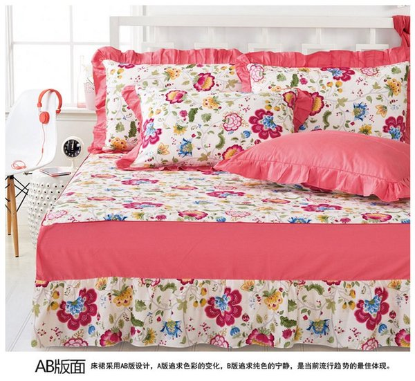 ROMORUS Design Beautiful US Fitted Sheet Full Queen King Size White Pink Princess Bamboo Fiber Lace Print Bedding Set Bed Skirts