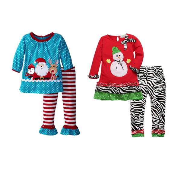 Çocuklar noel pijama çocuk giyim boys takım elbise kız pamuk kardan adam şerit XMAS Gömlek Tops + Pantolon Pijama santas Set yardımcı Kıyafetler