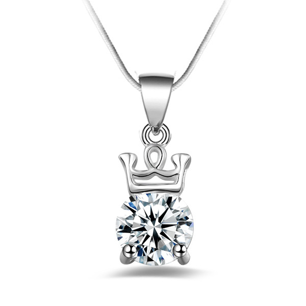 Free shipping fashion high quality 925 silver Crystal Crown diamond jewelry 925 silver necklace Valentine's Day holiday gifts hot 1640