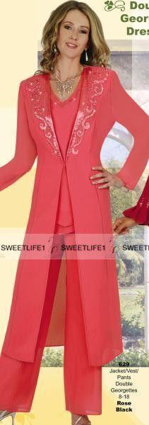 Tres piezas de la gasa de la envoltura de los pantalones de la madre trajes de cuello en V hasta el tobillo naranja rosa fucsia apliques barato vestido de fiesta formal de la boda para mamá