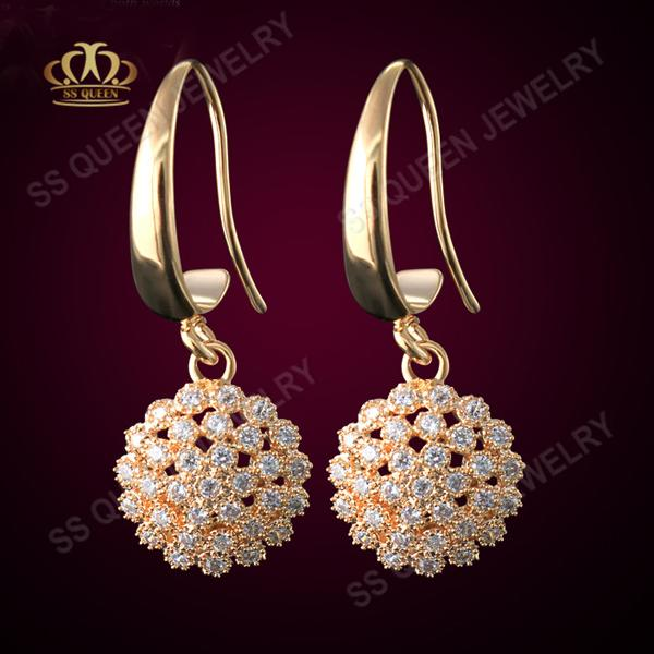 Wholesale 3 layers 18k yellow gold filled micro pave attractive CZ hook earring for women