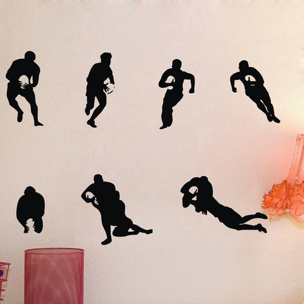 7pcs Soccer player boy with rugby ball Sport wall sticker art decoration wall decal for boy kid Fan bedroom