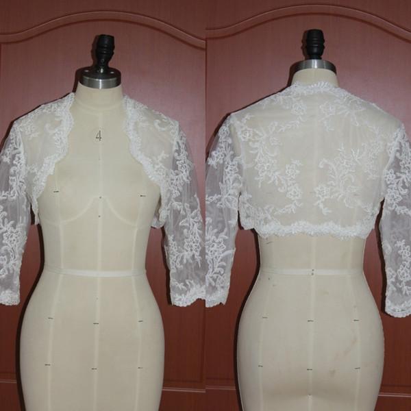 Real Photos 2017 Lace 3/4 Long Sleeve Bridal Bolero Jackets Wedding Dress Cape For Wedding Bridal Accessories Custom Made EN11302