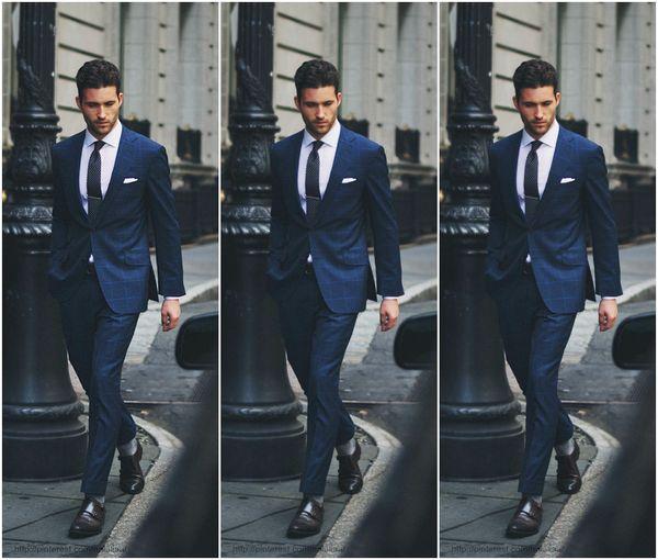 Hot Sale Grid Slim Fit Groom Tuxedos Navy Blue Handsome Men's Suits For Wedding Best Men's Suit For Bridegroom (Jacket+Pants+Tie) Exquisite