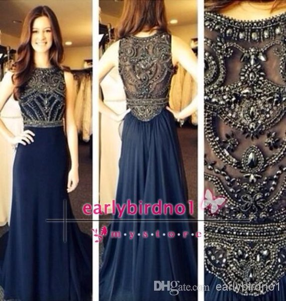 Bling Crystal 2016 Cheap Prom Dresses Sheer Neckline Real Image Navy Blue Arabic Evening Party Gowns Custom BO5235