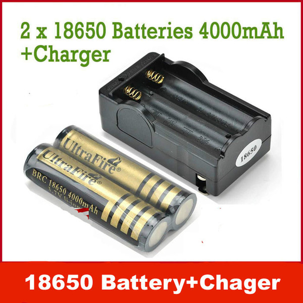 Free shipping, 2 pcs Excellent UltraFire 18650 Lithium Ion 3.7v 4000 mAh Rechargeable Batteries + 1pcs Charger