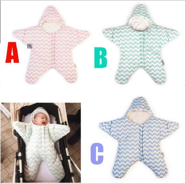 Baby Sleeping Bags INS Starfish Swaddling Newborn Blankets Stroller Cart Swaddle Toddler Winter Wraps Cotton Nursery Bedding Sleep Sack 3592