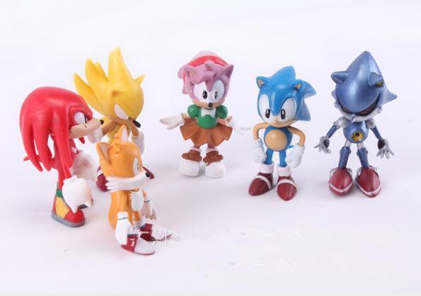6 pezzi / set Sonic Action Figure Giocattoli The Hedgehog Boom Shadow rare The Hedgehog Miles Prower Knuckles Cartoon Figure Christmas Action