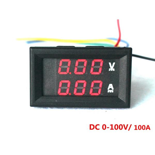 4 ADET Kırmızı LED Dijital DC Voltmetre Ampermetre DC 0-100 V / 100A Gerilim Akım Ölçer Volt Metre Araba Motosiklet Pil Monitör