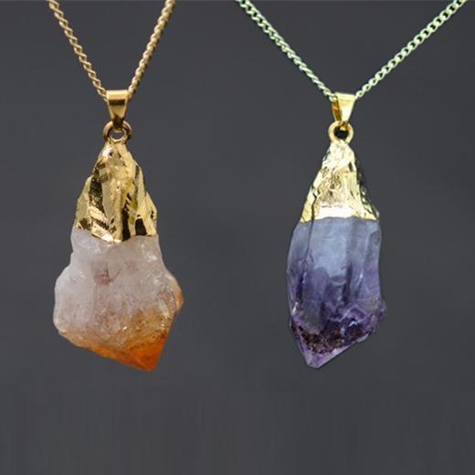 Al por mayor-18K chapado en oro áspero collares de piedras naturales Joias Ouro Banhado amatista cristal Druzy colgante rosa collar de cuarzo para las mujeres